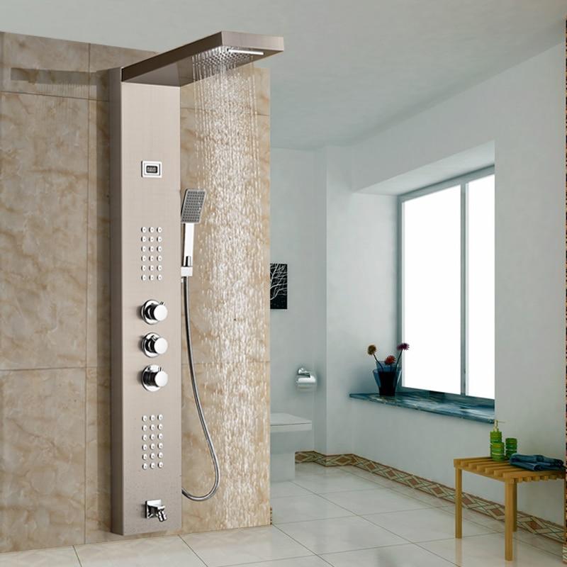 Bathroom Shower Faucet Thermostatic Valve Rain Waterfall Body ...