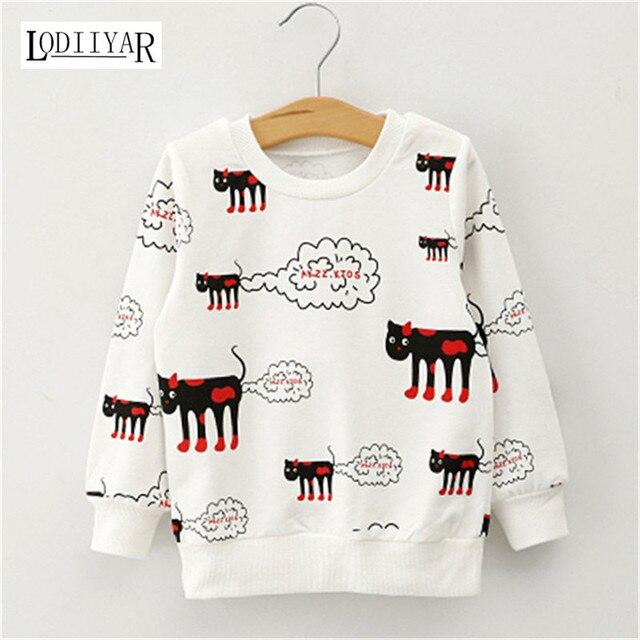 Cat Pattern Long Sleeve O-neck Cotton Girls Shirts Cartoon Kitten Kids Clothes Girl Sports Pullover Spring Autumn Sweatshirt