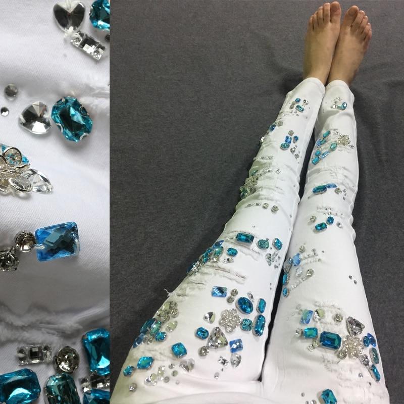 Cotton Women Rhinestones Denim Jeans Diamond Slim Girl Pencil Jeans White Denim Ripped Pants For 4
