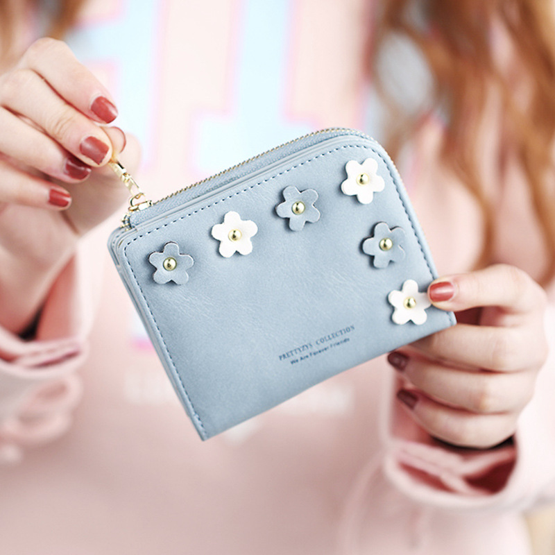New Fashion Flower Women Wallet Small Zipper Women Purse Brand Female Short Wallet Matte Pu Leather Card Wallet Girl Coin Purse