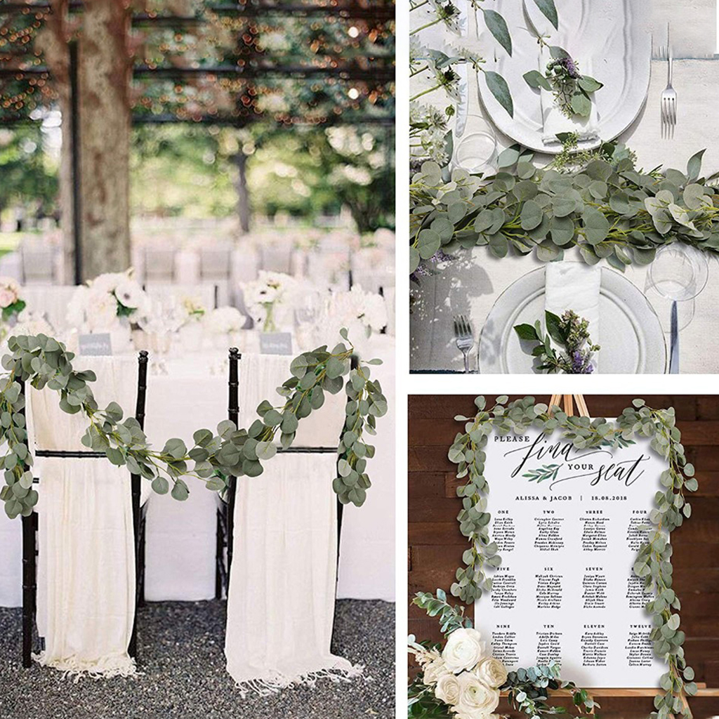 Artificial Eucalyptus Leaves Vine Fake Greenery Garland For Wedding Party Decoration Home Table Arch Decor 2m Faux Eucalyptus