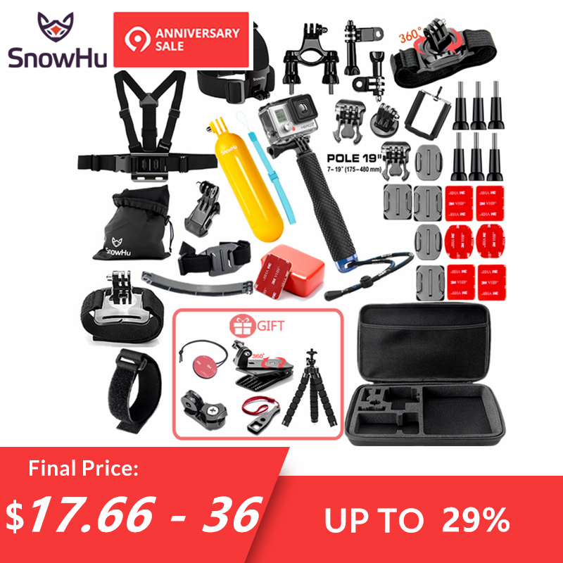 SnowHu para Gopro accesorios para ir pro hero 7 6 5 4 3 kit de montaje para SJCAM SJ4000 para xiaomi yi cámara para xiomi trípode GS21