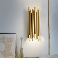 Modern LED Wall Lamp brubeck Wall Sconce for Kitchen Home Decoration Fixtures Lighting Golden Aluminum Tube Lampshade