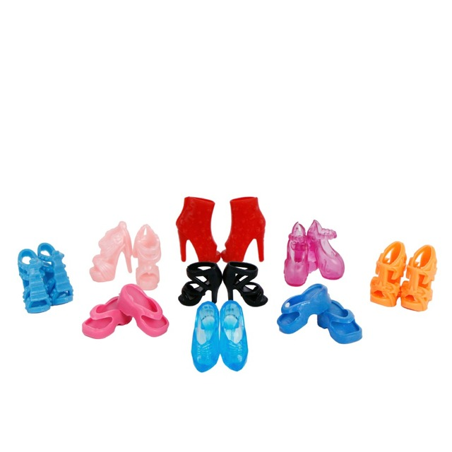 Random 12 Pairs Assorted Fashion Colorful Mixed Style Sandals High Heels Shoes For Barbie Doll Accessories Clothes Dress Kid Toy
