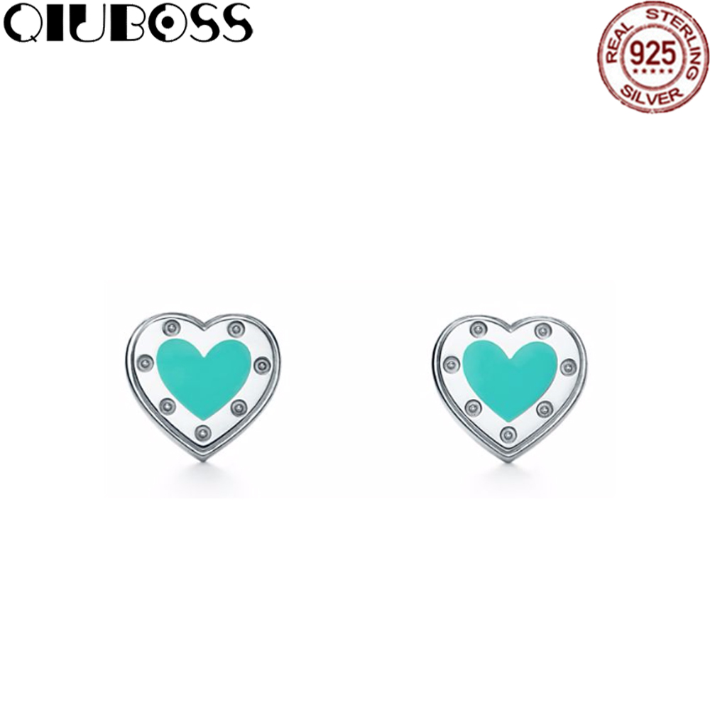QIUBOSS S925 SilverTiffany Pure Silver Enamel Mini Love Heart pierced pin birthday present pierced