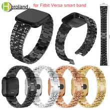 Stainless Steel Strap For Fitbit Versa band Wrist Band Replacement Luxury Crystal  Smart Watch Strap Band with diamond bracelet accessories stainless steel bracelet replacement watchbands for fitbit versa smart band metal strap wrist band with diamond new
