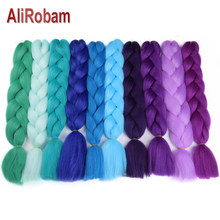 AliRobam Ombre Kanekalon Jumbo Braids Hairstyles Hair For Russian Women Big Box Braids Colors Synthetic Braiding Hair 24'' 100g(China)