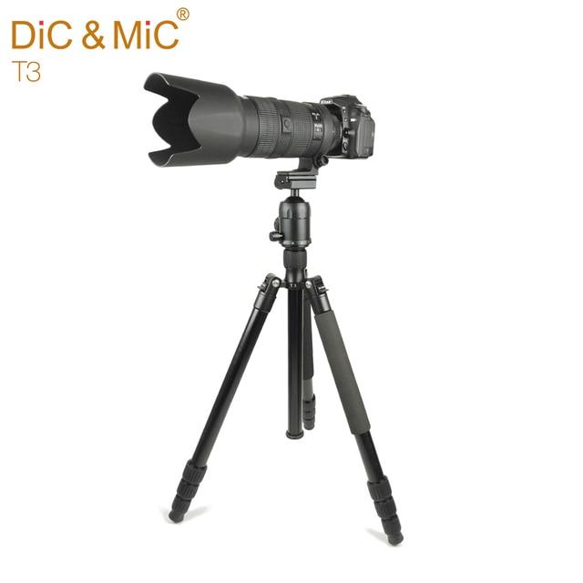 DiC и Микрофон T3 Профессиональный Штатив для Камеры/Алюминиевого Сплава Штативы для Профессионального Фотографа/44 мм Бал Панорамный глава