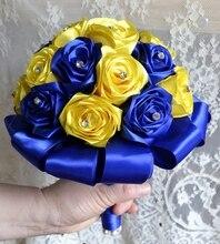 bride flower bouquet sil ribbon roses rouge flower handmade wedding bouquet stunning yellow and blue wedding rose ramos de novia