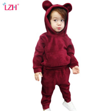 LZH Newborn Clothes 2018 Autumn Spring Baby Boys Clothes Velvet Hoodies+Pants 2pcs Baby Girls Sets Outfits Kids Infant Clothing