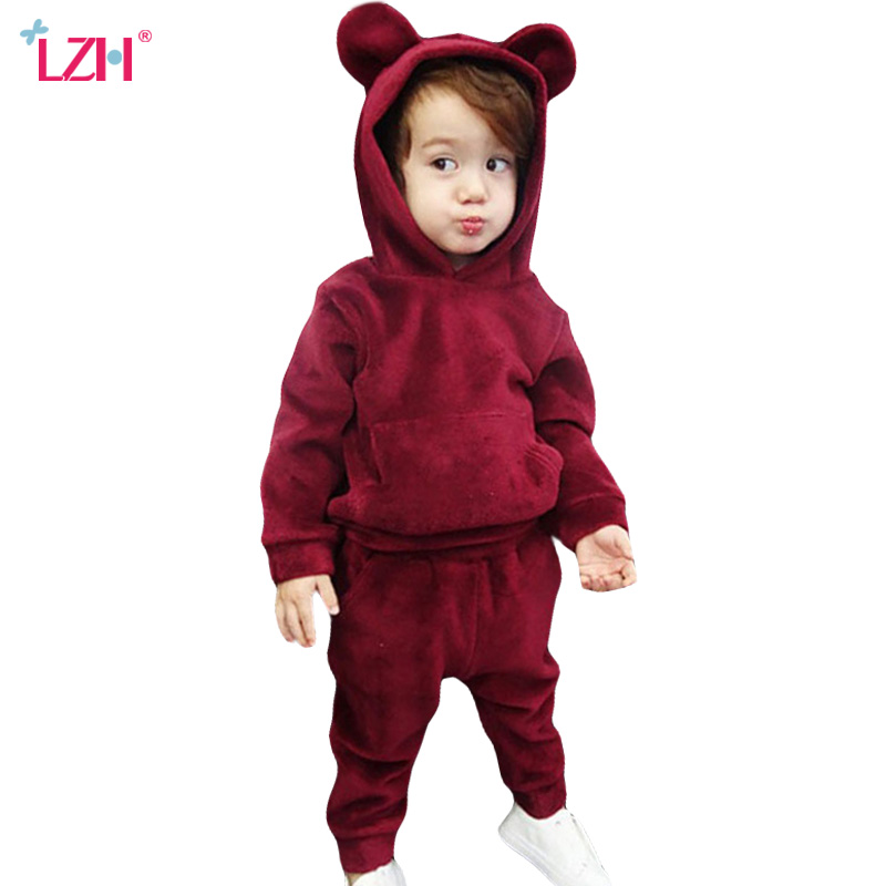 Newborn Baby Girls Clothes 2018 Autumn Winter Baby Boys Clothes Velvet Hoodies+Pants 2pcs Outfits Suit Baby Sets Infant Clothing children clothing for autumn kids set boys and girls long sleeved sport clothes sets teenager hoodies pants outfits 2pcs