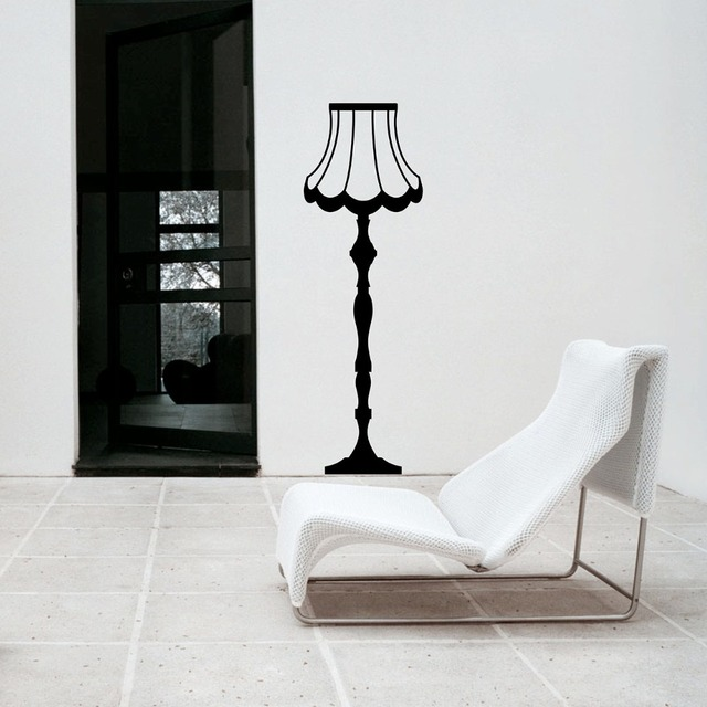 anitique style wall decal vintage floor lamp stickers living room