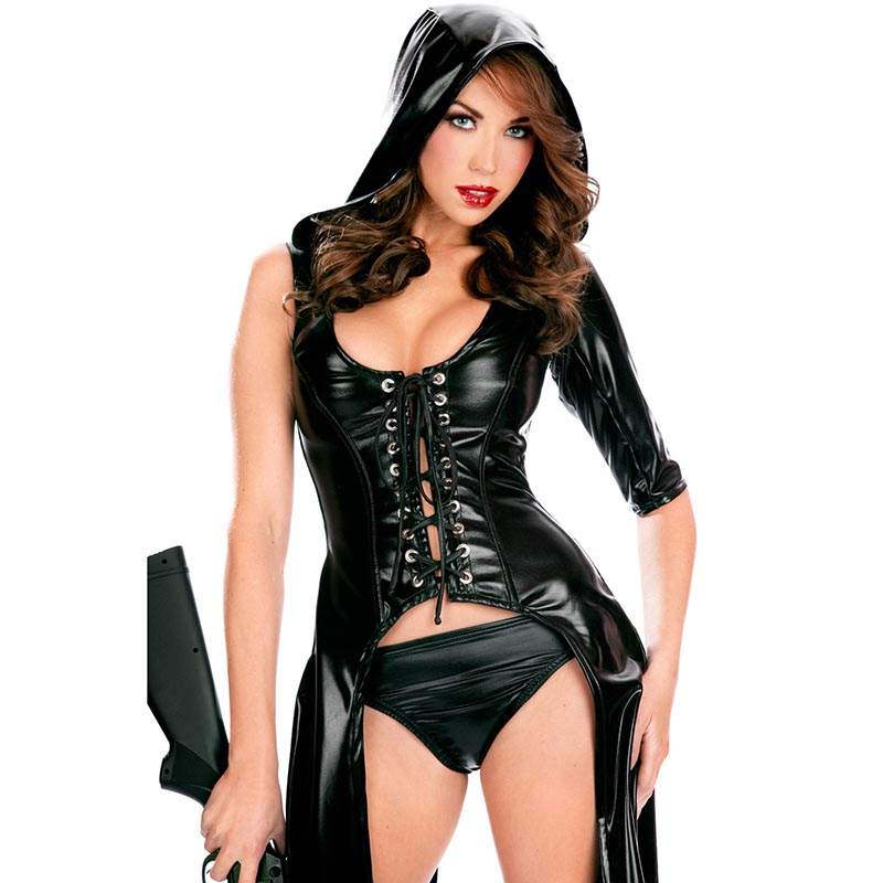 Buy Fetish Women's Faux Leather Jazz Dance Dress Nightclub Vinyl Latex Catsuit Erotic Women Long Hooded Leather Coat