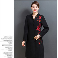 EYES Spring Women Wool Plus Size Coat Embroidery Bodycon Vintage Elegant Fashion High Quality Black Red Coats