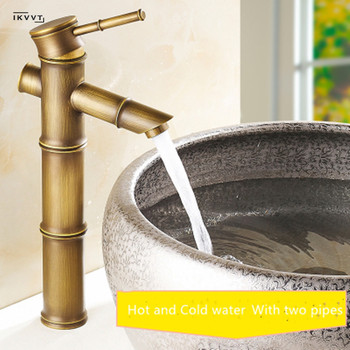 Antique Brass Vessel Faucet  Waterfall Bathroom Sink Faucet Vessel Tall Bamboo Water Tap Mixer Torneiras Monocomando Hot Cold new chrome brass bathroom sink faucet automatic sensor vessel tap for cold water