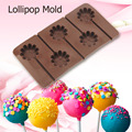 2016 Hot Sale Practical 5 Holes Flowers type Lollipop Mold Kitchen DIY Silicone Mould Baking Tools Chocolate Molds Home Use