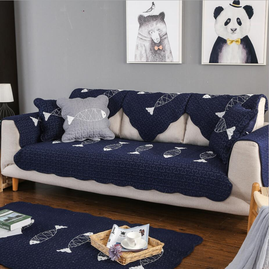 1pc Furniture Covers For Couches cotton Grey blue Sofa Slipcover Fish  embroidery Sectional Sofa Cover Fashion Decoration 4d1734470a