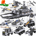 Free shipping 8 in 1 Aircraft Carrier Building Blocks Model Fleet Submarine Warship Military Naval Ship Compatible with Lego