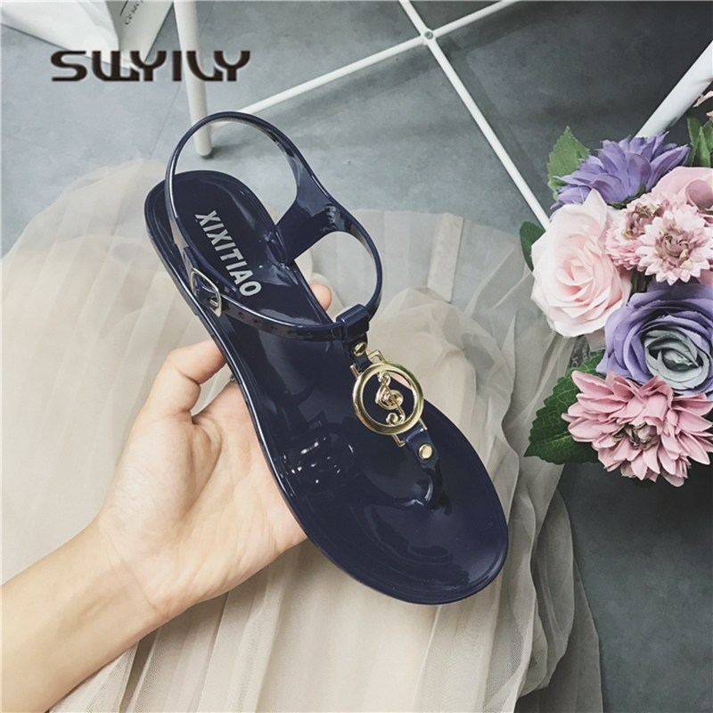 SWYIVY Woman Sandals Jelly Shoes Flats 2018 Summer Flip Flop Sandals Woman Female Holiday Beach Casual Shoes Rome Simple Black gladiator sandals 2017 summer style comfort flats casual creepers platform pu shoes woman casual beach black sandals plus us 8
