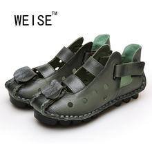 WEISE New Personality National Wind Retro Handmade Leather Sandals Female Literary Head Skin Baotou Hole Women Sandals Hollow