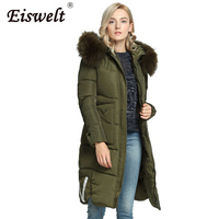 Plus Size Padded Military Parka 2017 Winter Women S Down Coat Thick Pocket Hooded With Fur