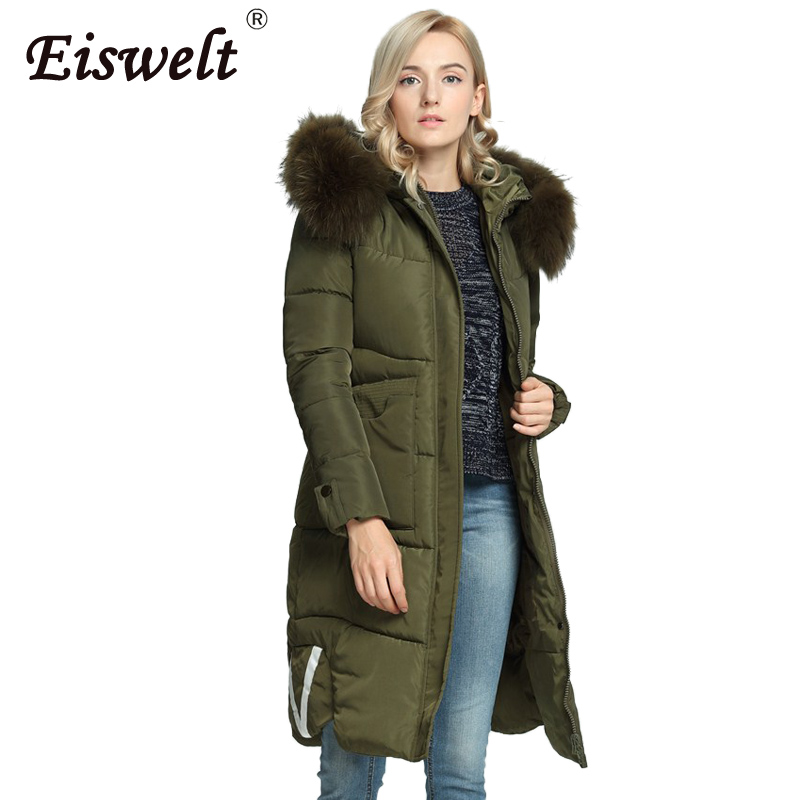 Plus Size Padded Military Parka  Down 2017 Winter Women's Coat Thick Pocket Hooded with Fur Female Snow Warm Outerwear & Coats