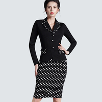 Patchwork Plaid Long Sleeve Workwear Business Office Dress Outfit Suits Women Autumn Winter Formal Dress Bodycon