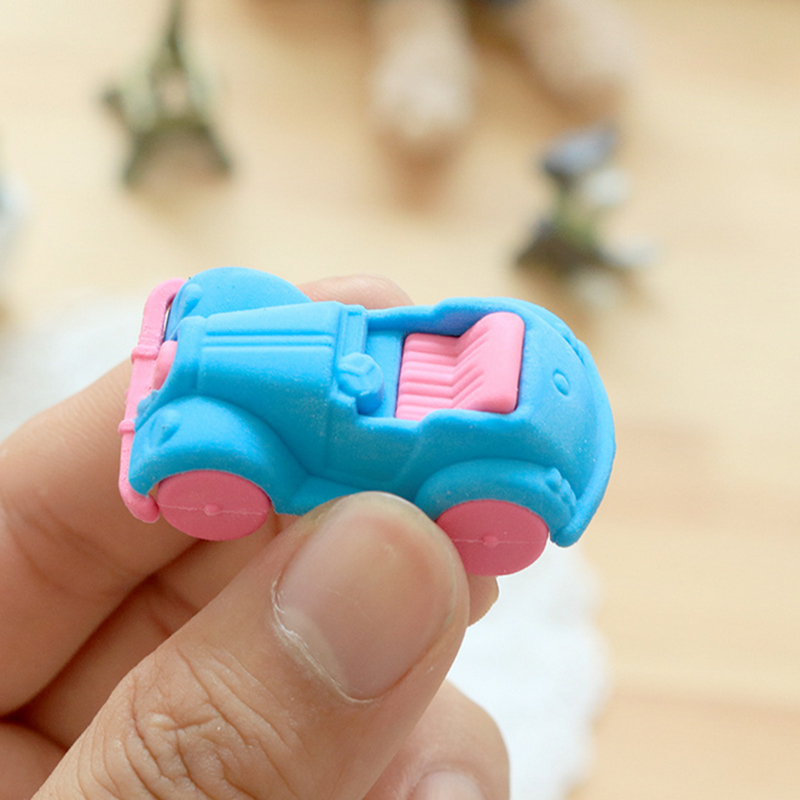 1X Kawaii Classic Cars Rubber Eraser Creative Macaron Eraser For Kids Student Gift Novelty Item Student School Supplies