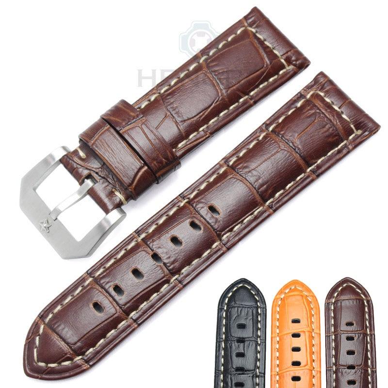HENGRC Watchbands 24mm Brown Black Genuine Leather Women Wen Watch Strap  Band Metal Pin Buckle Panerai Watch Accessories 51a8d5987ee