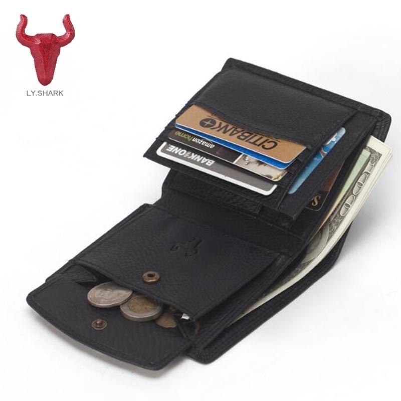 LY.SHARK Top Genuine leather Men Wallet coin purse male card holder short men Clutch money bag carteira masculina wallet men new