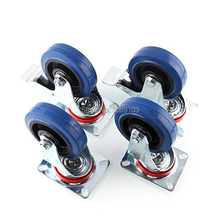 4PCS 4 inch Industrial elastic blue rubber caster wheel, medium duty for trolley