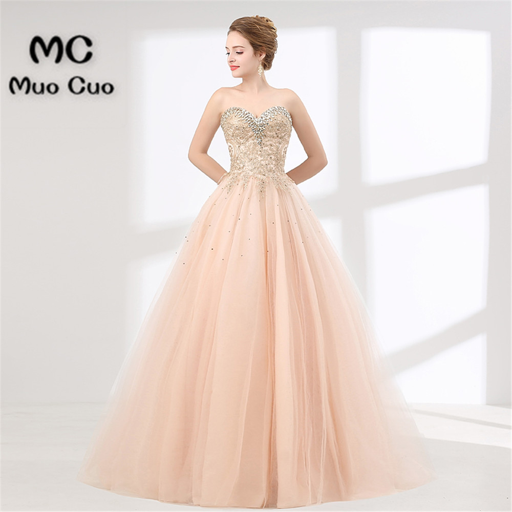 Elegant 2018 Blush Pink Prom dresses Long with Crystals Beaded long ...