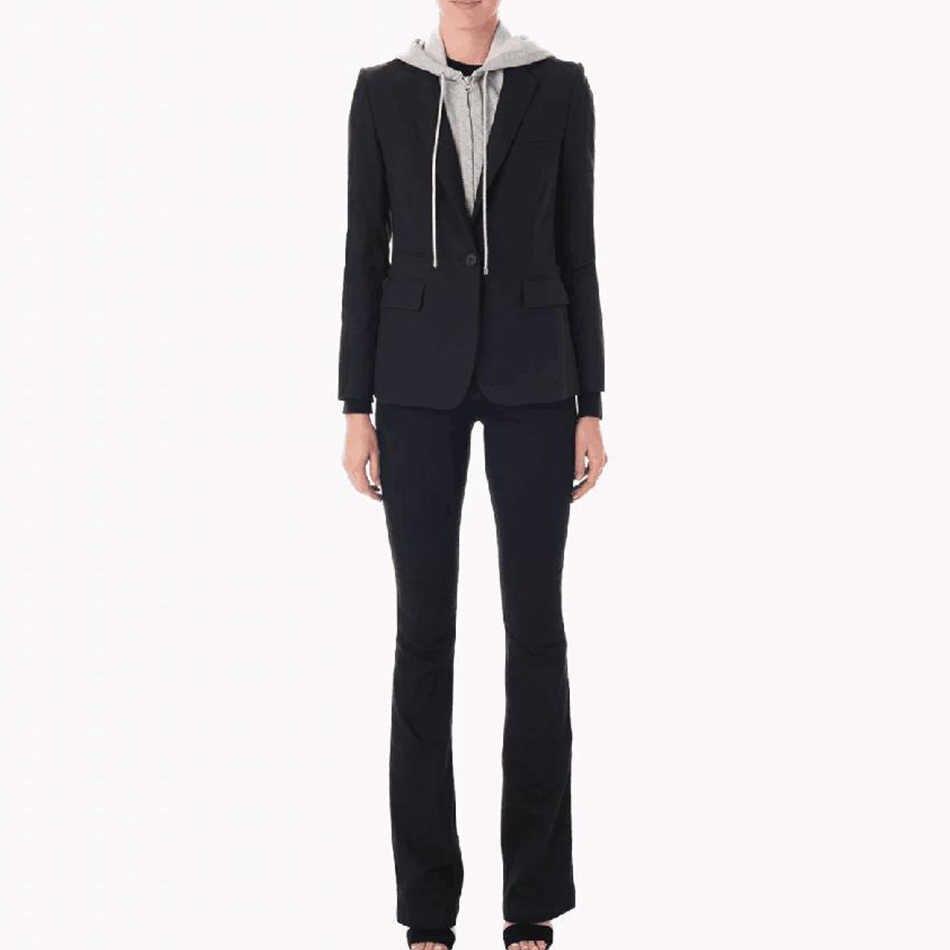 2019 nueva chaqueta negra para mujer, chaqueta de oficina para mujer, un solo botón, personalidad, desmontable, con cremallera, con capucha, prendas de vestir, Blazers para mujer