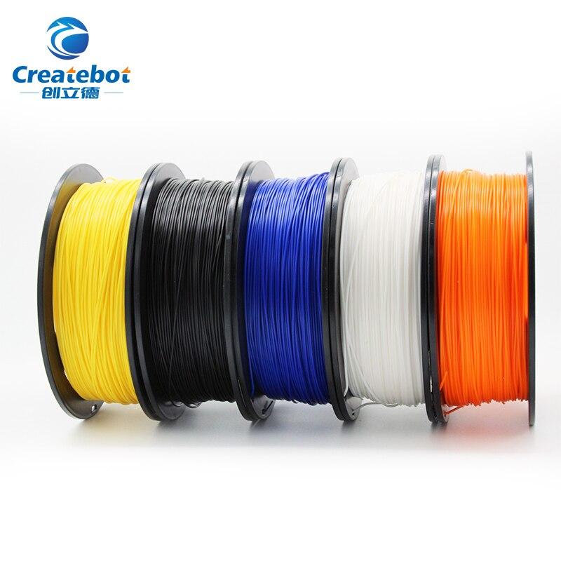 Createbot 3D filamento de impresora PLA 1,75mm 1 kg de plástico de caucho consumibles Material de plástico de colores de materiales