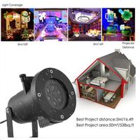 16 Patterns RGB LED Projector Night Snowflake Garden Lawn Lamp Light Christmas Outdoor Holiday Landscape Decoration Lamp Z35
