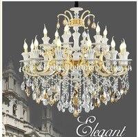 Nova Chegada de Luxo Liga de Zinco Jade Jade Lustres D105cm 18L AC LED K9 Candelabro de Cristal Da Lâmpada Lustre Para Home Lighting jade chandelier led k9 k9 chandelier -