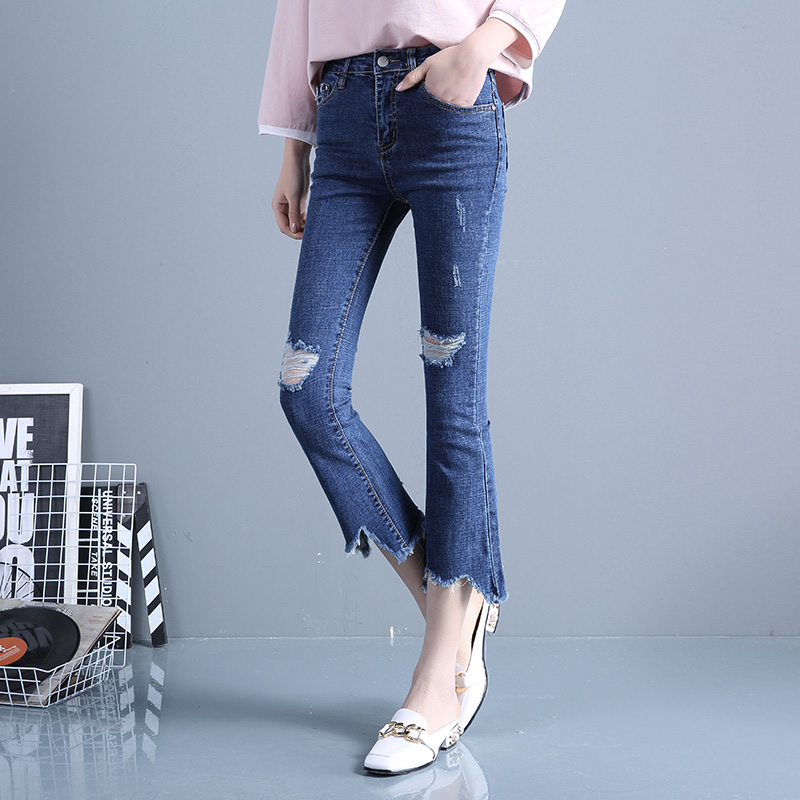 2017 summer new fashion female hole with tassel high waisted jeans pants calf length small flares