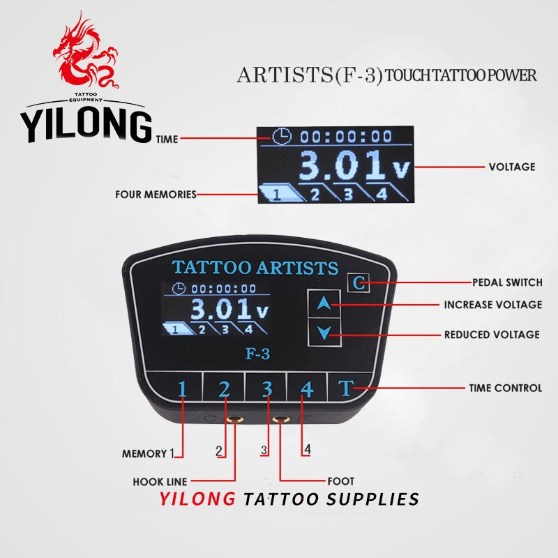 YILONG Digital Tattoo Power Supply High Quality Tattoo Power Supply LCD Display With Plug cord to line tattoos gun free shipping ручной пылесос handstick dyson v6 cord free extra sv03 350вт желтый