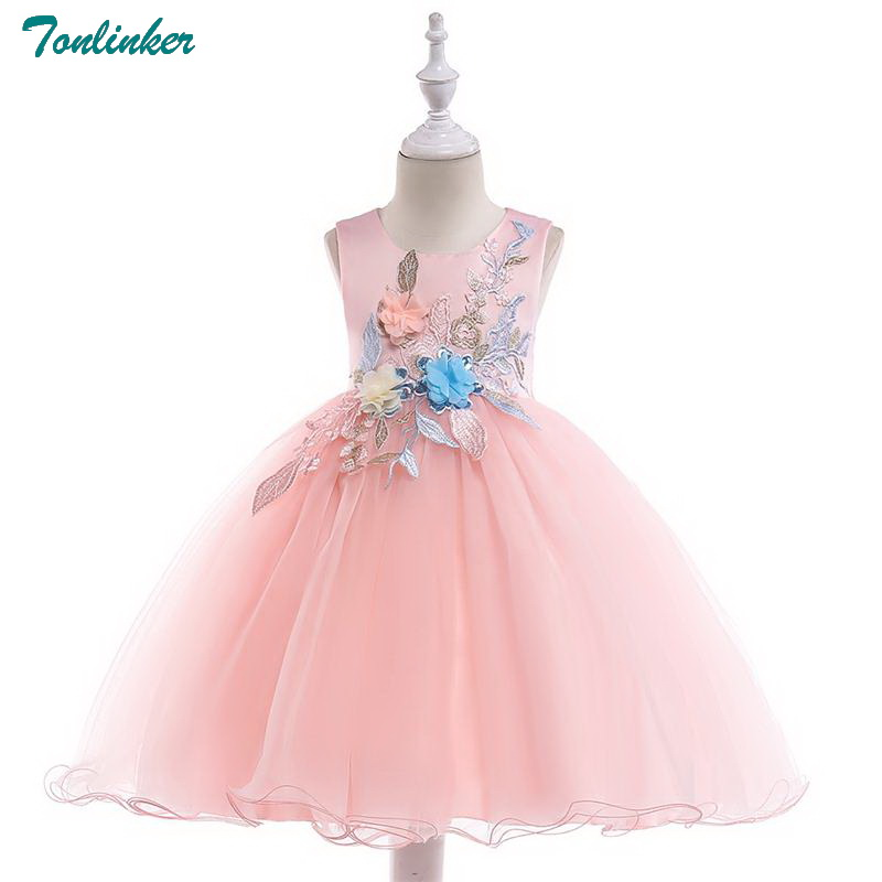 Tonlinker Flower Girl Dress 2018 Girls Kids For autumn sleeveless Lace Princess baby wedding costume Party dress New