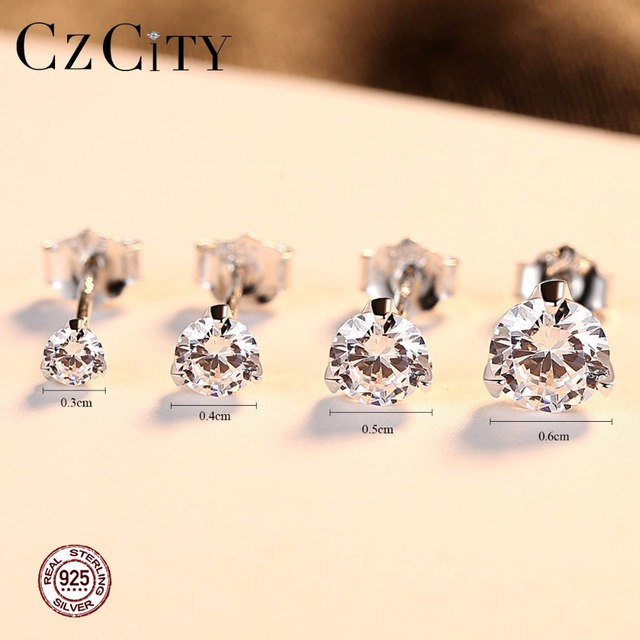 CZCITY Clear CZ Stud Earrings Simple Three Claws Size 3mm/ 4mm/ 5mm/ 6mm 925 Sterling Silver Women Earrings Jewelry Daily Wear 1
