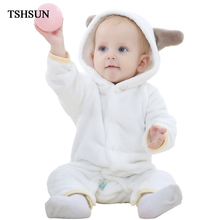 TSHSUN Spring Autumn Baby Girl Rompers Baby Clothing Pajamas Baby Clothes Flannel Baby Boy Clothes Cartoon Animal Jumpsuit
