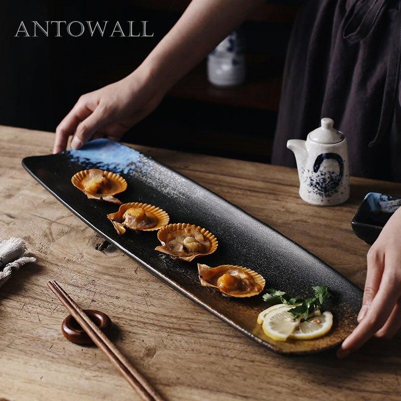 ANTOWALL plat à sushi en céramique sashimi chinois | Plat froid à longue bande, assiette à homard de poisson super longue de 20 pouces