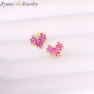 Image 3 - 10Pairs, 10*9mm, Gold filled Jewelry Earrings Heart Shape rose red cz micro pave Stud Earring