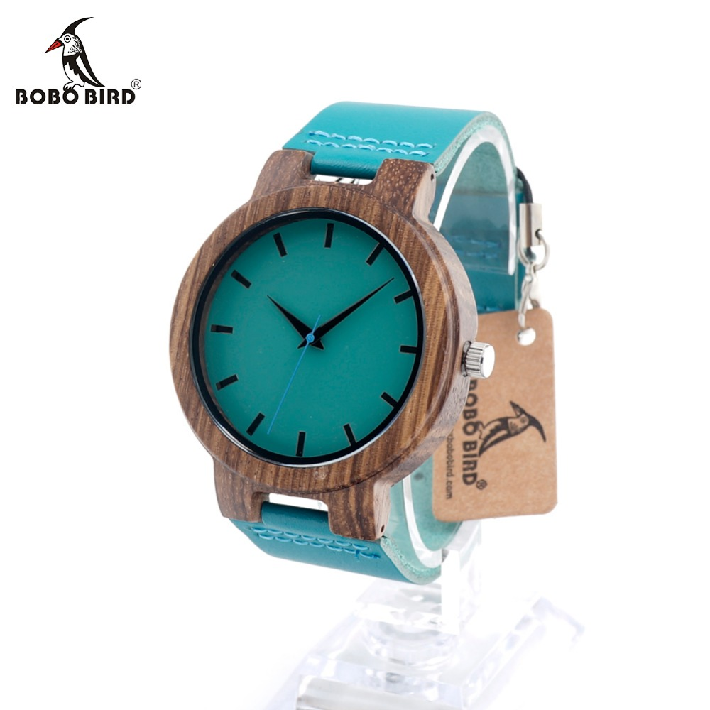 BOBO BIRD C28 Mens Blue Leather Band Antique Wood Watches With Blue Anlaogue Display Bamboo Wooden