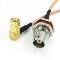 6-дюймовая Женская гайка BNC с гайкой и прямым углом от SMA Male, кабель RG316 Pigtail 15 см