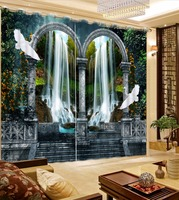 High Quality 3D Curtain Waterfall European Vintage Roman Curtains Hooks Polyester Cotton Window Curtain Blackout Drapes