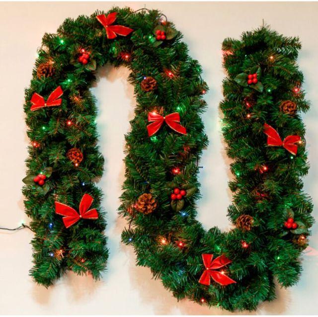 Us 19 8 2 7m Christmas Garland Green Christmas Rattan With Bows And Lights Christmas Decoration Supplies Christmas Decorations For Home In Pendant