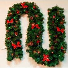 2.7m Christmas garland green Christmas rattan with bows and lights Christmas decoration supplies Christmas decorations for home