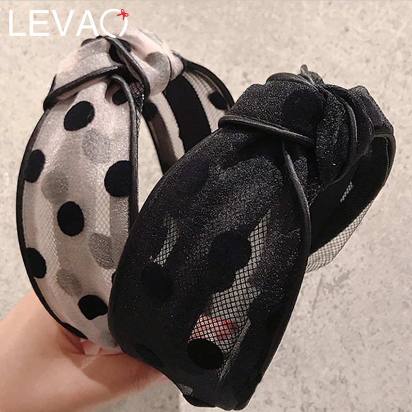 LEVAO Cute Lace Dot Headband For Women Hairband Hair Accessories Wide Knotted Mesh Head Band Hair Hoop Bezel Girls Headdress