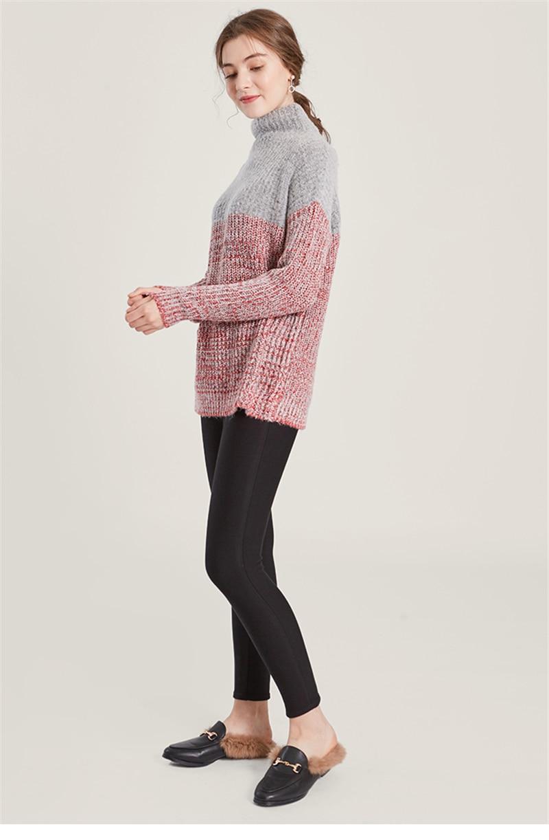 Frauen Pullover Lanquid Pullover Grau Strick Rot Wollmischung Garn Clip Neue Size Farbe Lose One Patchwork Mode tQoCxBdshr